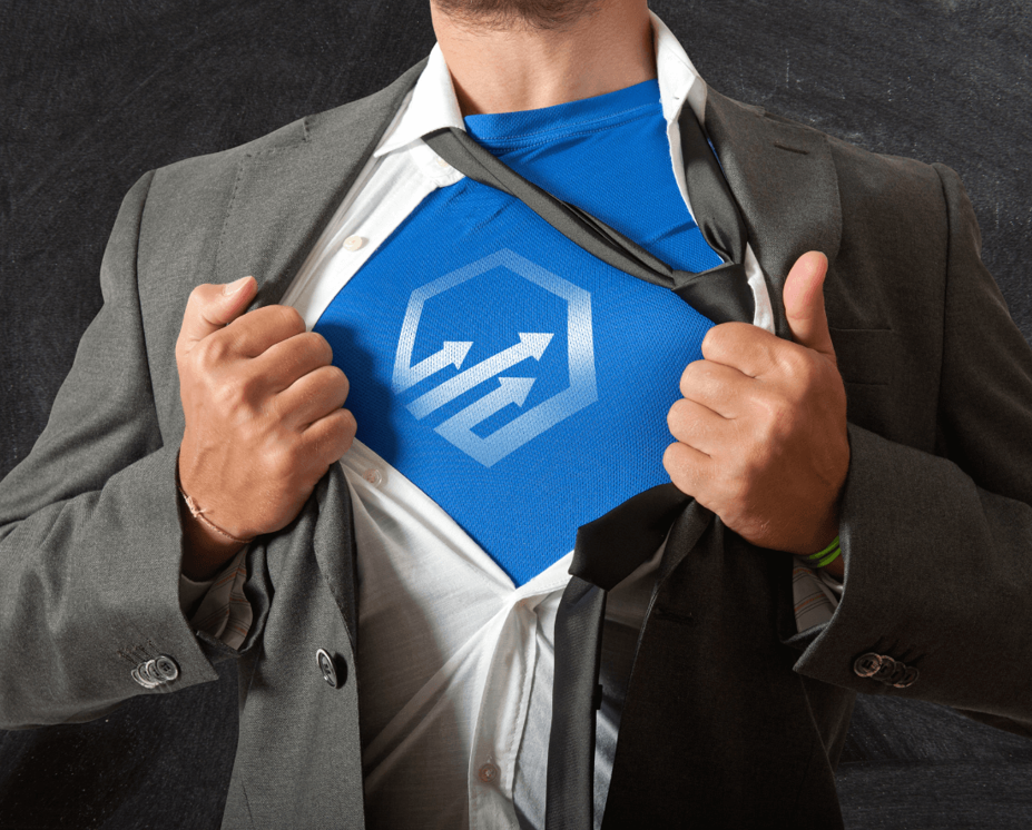 A man unbuttoning his shirt Superman-style with the MarketSense logo on his undershirt.